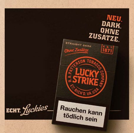 lucky strike straight dark zigaretten. Black Bedroom Furniture Sets. Home Design Ideas