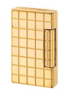 S.T. Dupont Feuerzeug Initial Quadrillage mit goldenem Bronzefinish