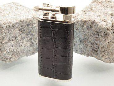 Pearl Pfeifenfeuerzeug Stanley mit Krokoprägung schwarz