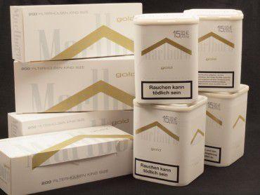 Marlboro Gold Tabak Angebot, 4x100g Dose + 4x200 Hülsen