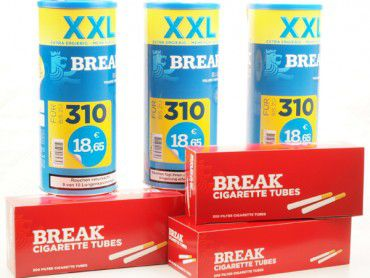 Break Blue XXL Volume Tabak Angebot, 3x140g Dose + 3x200 Hülsen