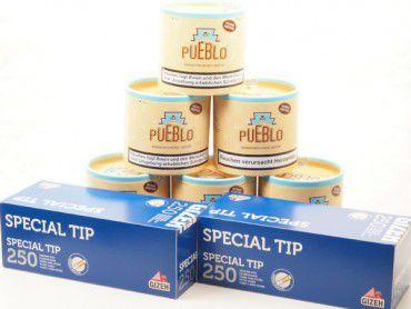 Pueblo Classic Tabak Angebot, 6x100g Dose + 2x250 Hülsen