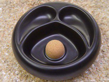Pfeifenascher Keramik schwarz matt mit 2er Ablage