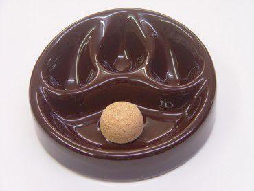 Pfeifenascher Keramik braun mit 3er Ablage