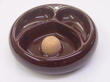 Pfeifenascher Keramik braun mit 2er Ablage