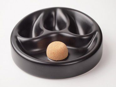 Pfeifenascher Keramik schwarz matt mit 3er Ablage