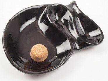 Pfeifenascher Keramik schwarz glänzend oval mit 2 Ablagen