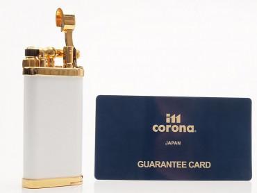 IM Corona Pfeifenfeuerzeug Old Boy weiss vergoldet