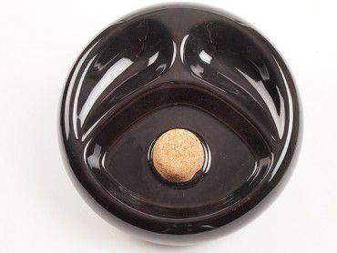 Pfeifenascher Keramik schwarz glänzend mit 2er Ablage