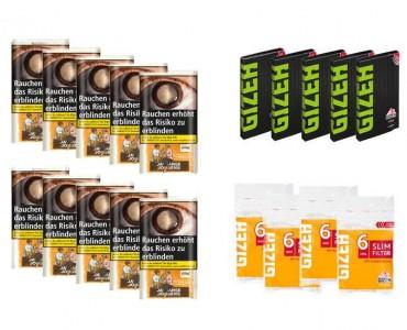 Javaanse Jongens Classic Tabak Angebot, 10x30g Pouch + 5x Gizeh Papier + 4x Slim Filter