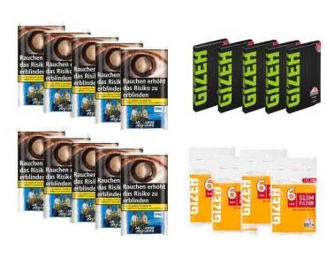 Javaanse Jongens Halfzware Tabak Angebot, 10x30g Pouch + 5x Gizeh Papier + 4x Slim Filter