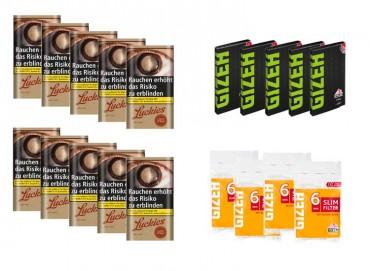 Lucky Strike USA Red Tabak Angebot, 10x30g Pouch + 5x Gizeh Papier + 4x Slim Filter
