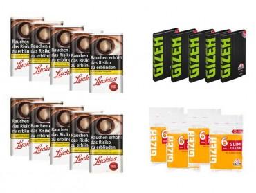 Lucky Strike Original Red Tabak Angebot, 10x30g Pouch + 5x Gizeh Papier + 4x Slim Filter