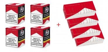 Marlboro Red Tabak Angebot, 4x90g Dose + 4x200 Hülsen