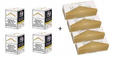 Marlboro Gold Tabak Angebot, 4x90g Dose + 4x200 Hülsen