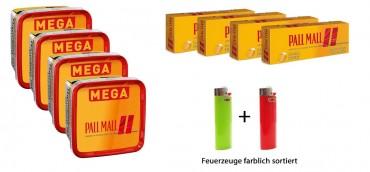 Pall Mall Allround Tabak Angebot, 4x170g Mega Box + 4x200 Hülsen + 2 Feuerzeuge